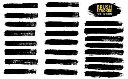 Illustration pour Large set different grunge brush strokes. Dirty artistic design elements isolated on white background. Black ink vector brush strokes. Black isolated paintbrush collection. Brush strokes isolated - image libre de droit