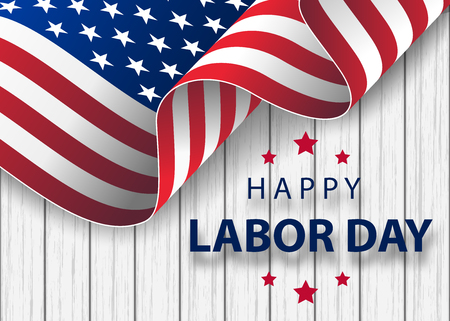 Illustration for waving American flag with typography Labor Day, September 7th. Happy Labor Day holiday banner with brush stroke background in United States national flag colors and hand lettering text design. - Royalty Free Image