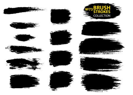 Ilustración de Vector make-up cosmetic mascara brush stroke texture design. Large set different grunge brush strokes. Dirty artistic design elements isolated on white background. Black ink vector brush strokes - Imagen libre de derechos