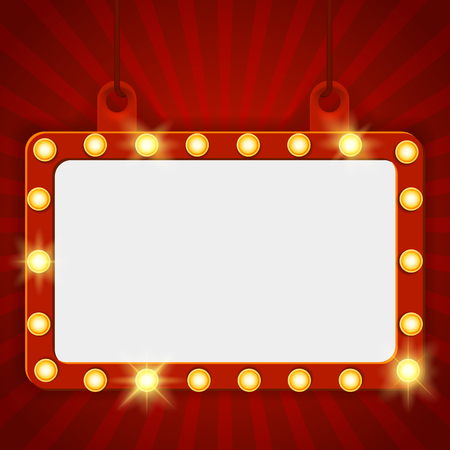 Illustration pour Shining party banner on red curtain background. Suspended glowing signboard, Cinema billboard. Signboard-background with lamps along the border for lottery, casino, poker, roulette Vector illustration - image libre de droit