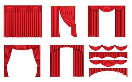 Illustration for Luxury scarlet red silk velvet curtains and draperies interior decoration design. Set of realistic luxury red curtains of various design on cornices with golden elements. - Royalty Free Image