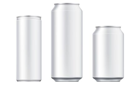 Illustration pour Vector aluminium beer and slim soda can mock up blank template. Juice, soda, beer jar blank isolated on white background. Aluminum can for design. Realistic aluminum cans - image libre de droit