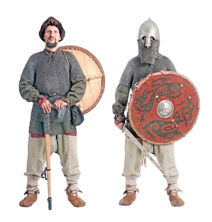 body portrait of  medieval soldiers with helmet, hauberks, shields ,sword  and axe, isolated on white background