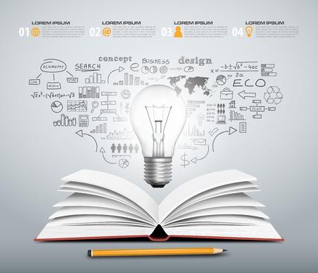 Illustration pour Concept design - book open with bulb business sketch in vector format - image libre de droit