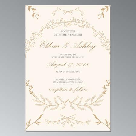 Illustration pour flower weding invitation frame cover - image libre de droit