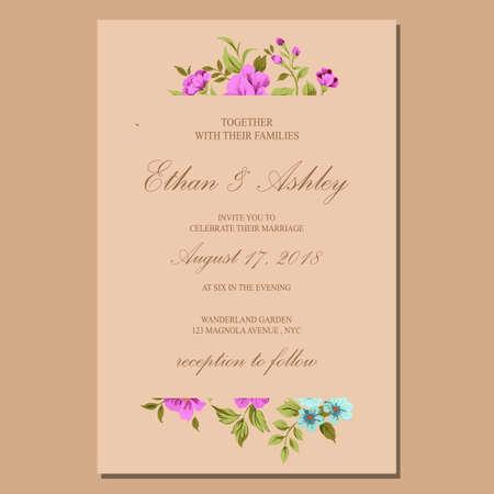 Illustration pour wedding invitation with floral pattern frame - image libre de droit