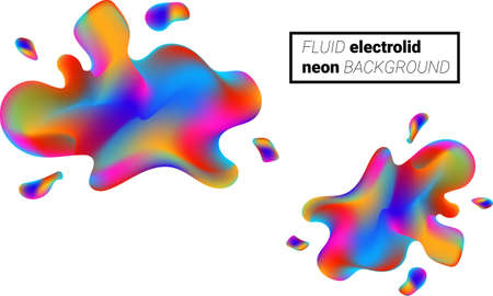 Illustration for Colorful liquid splashes background. Fluid paint template. Abstract neon background. - Royalty Free Image