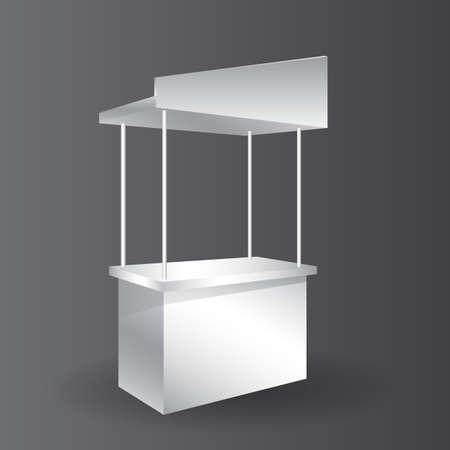 Illustration pour counter promotion exhibition stand mockup for event, Advertising POS POI Display Rack Shelves For Supermarket Floor Showcase. - image libre de droit