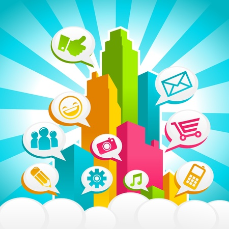 Colorful Burst City with Social Media Icons