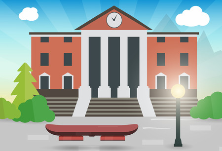 Illustration pour future hoverboard on the street with the town hall vector illustration - image libre de droit