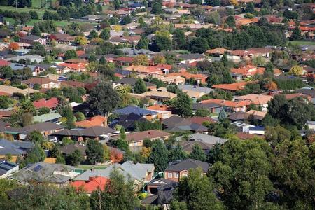 Aerial view of suburban houses in Melbourne, Australia