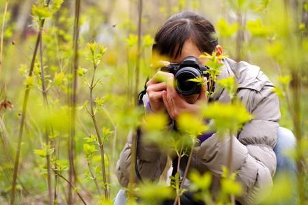 photographer în the nature photographing plants