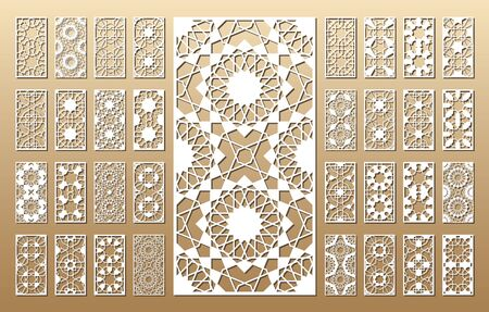 Illustration for 33 vector panels. Cutout silhouette with arabic (girih geometric) pattern. A picture suitable for printing invitations, laser cutting (engraving) stencil, wood and metal decorations. - Royalty Free Image