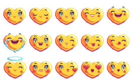 Collection of 15 positive emotions heart shaped pixel art emoji in golden color fun laugh smile happy love
