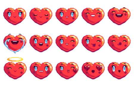 Collection of 15 positive emotions heart shaped pixel art emoji in red color fun laugh smile happy love