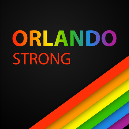 Illustration pour Vector illustration in LGBT colors with Orlando Strong text. Symbol of peace, gay culture. Rainbow template, paper layers. Pride Month. Gay culture symbol against violence. - image libre de droit