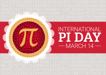 Pi Day background. Baked cherry pie with Pi Symbol and ribbon. Mathematical constant, irrational number, greek letter. Abstract digital illustration for March 14th. Poster creative template