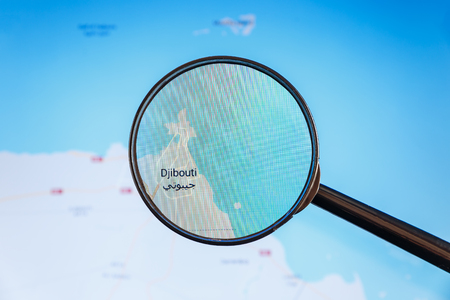 Photo pour Djibouti, Djibouti. Political map. City visualization illustrative concept on display screen through magnifying glass. - image libre de droit