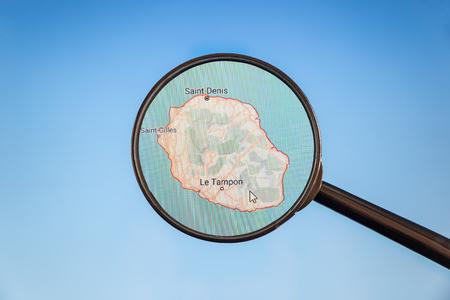 Photo pour Saint-Denis, Reunion. Political map. City visualization illustrative concept on display screen through magnifying glass. - image libre de droit