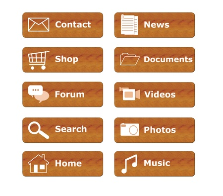 Buttons for menu website in wood texture