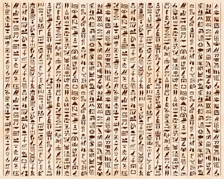 Illustration pour Vector illustration of Egyptian ornaments and hieroglyphs on a beige background with the effect of aging. - image libre de droit