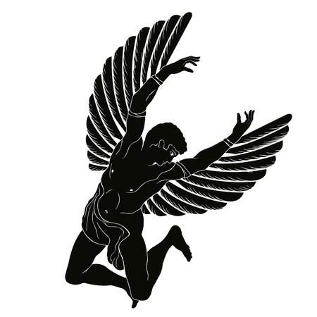 Ilustración de The hero of the ancient Greek myth Icarus with wings flies in the sky. Black drawing isolated on white background - Imagen libre de derechos