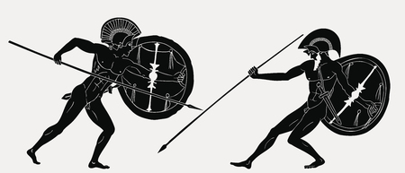 Illustration pour Two ancient Greek warrior. - image libre de droit