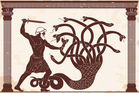 Illustration pour Hercules kills the Lyrna Hydra. 12 exploits of Hercules. Figure on a beige background with the aging effect. - image libre de droit