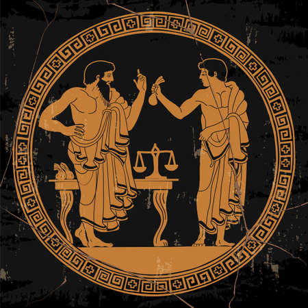 Illustration pour Two ancient Greek men in tunics in the market stand and conduct dialogue. Antique painting on the dishes. - image libre de droit