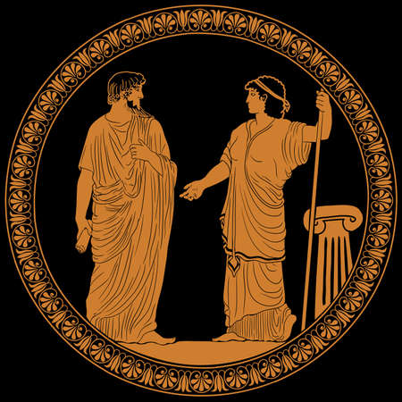 Illustration pour An ancient Greek man with a scroll in his hand is talking to a woman with a staff. Two figures isolated on a black background. Antique painting on the dishes. - image libre de droit