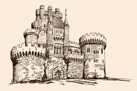 Illustration pour Medieval stone castle with towers on the plain. - image libre de droit