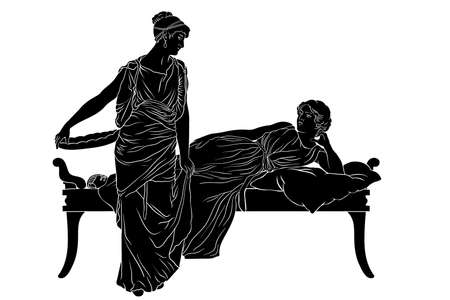 Illustration pour Two ancient Greek women in tunics chat in the bedroom. Figures isolated on white background. - image libre de droit