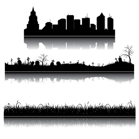 Set of city, grass and graveyard silhouettes