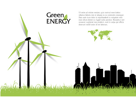 Creative vector with wind turbines, green energy concept.