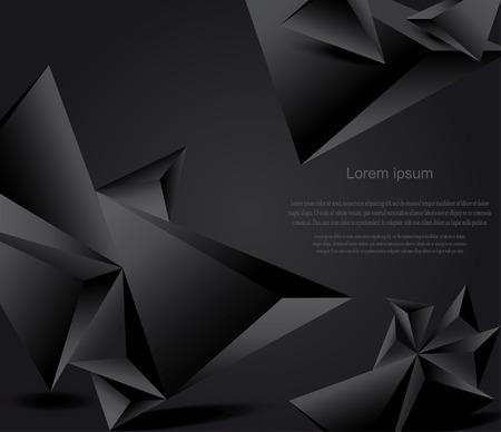 Ilustración de Abstract black background with geometric figures - Imagen libre de derechos