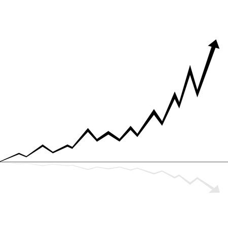 illustration of rising line black and white