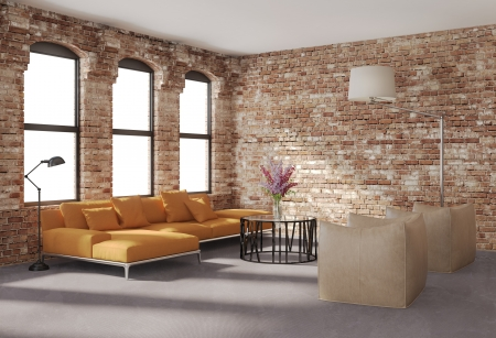 Contemporary stylish loft interior, brick walls, orange sofaの写真素材