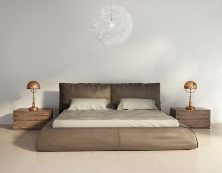Dark brown leather bed in contemporary chic interior, front view