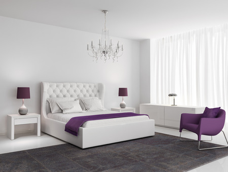 White luxury bedroom with purple armchair and rug