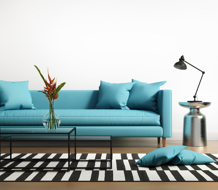 Photo pour Modern interior with a blue turqoise sofa in the living room - image libre de droit