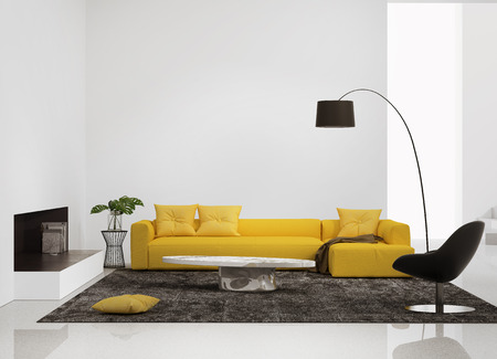 Modern interior with a yellow sofa in the living room and a leather chair