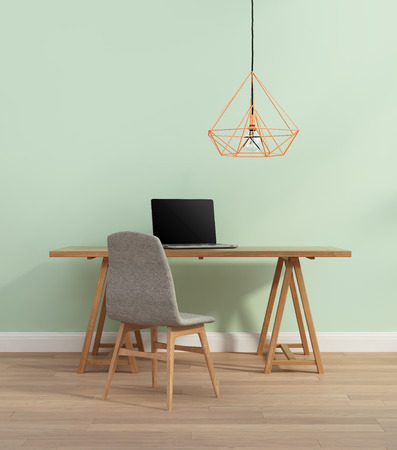 Photo for Elegant minimal mint color home office with chair - Royalty Free Image