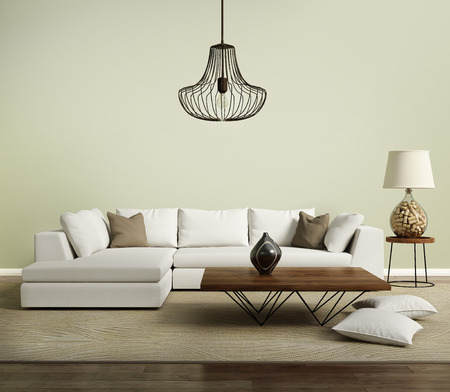 Beige contemporary modern sofa with lamp