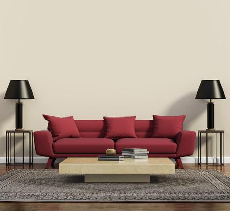 Foto de Red sofa in a modern contemporary living room - Imagen libre de derechos