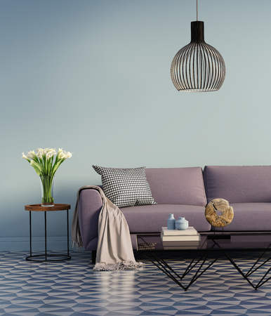 Blue elegant interior with purple sofa and flowers