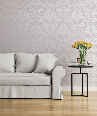 Grey sofa with a purple damask victorian wallpaper