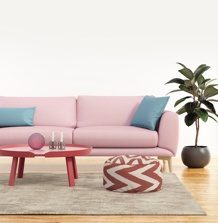 Modern pink sofa in a fresh living room