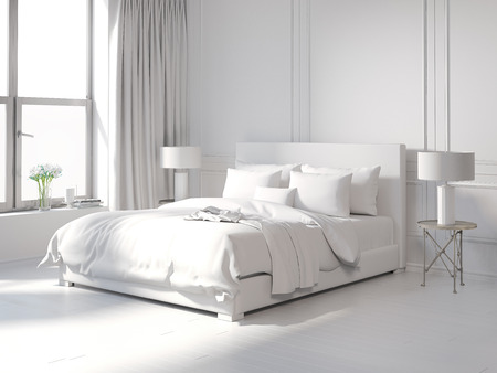 Foto de Contemporary all white bedroom - Imagen libre de derechos