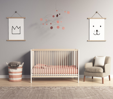 Foto de Modern nursery room with salmon red and grey accents - Imagen libre de derechos