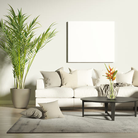 Photo for Contemporary living room with mock up poster - Royalty Free Image